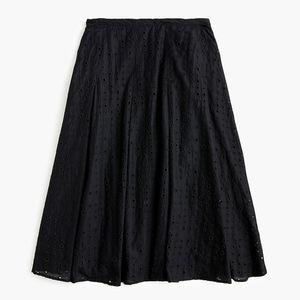 New JCREW Black Midi Skirt in allover eyelet